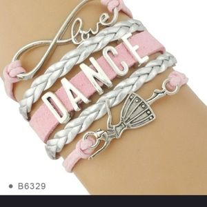 """Calling all dancers"" Love Dance bracelet in pink"